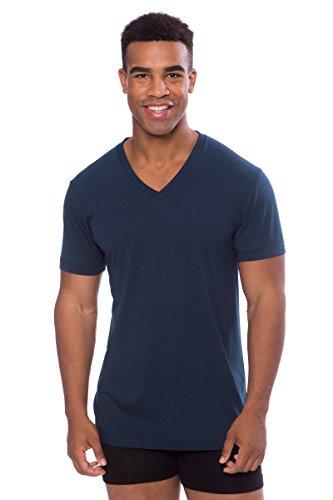 Texere Men's V-Neck Luxury Undershirt (Meio, Midnight Blue, L) Unique ()