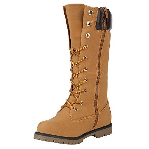 Stiefelparadies Damen Stiefeletten Worker Boots mit Blockabsatz Profilsohle  Flandell Hellbraun Berkley ...