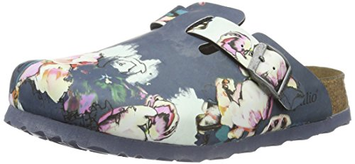 Birkenstock Damen Boston Birko-Flor Softfootbed Clogs, Mehrfarbig (Painted Bloom Navy), 43 EU