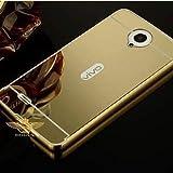 CEDO Premium Luxury Metal Bumper Acrylic Mirror Back Cover Case For Vivo Y21 - Gold