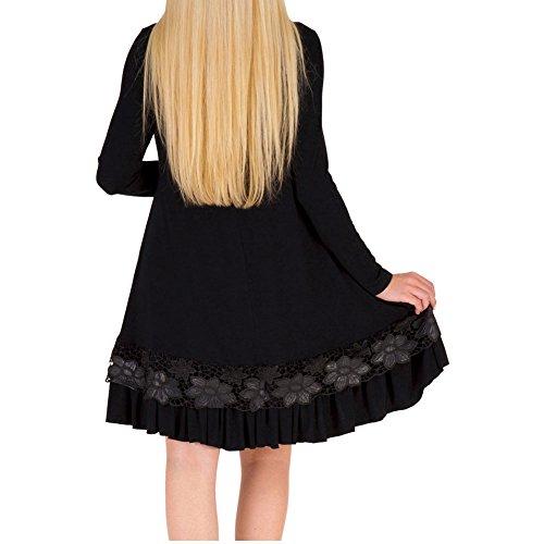 Bodycon4u Manches Boule Ourlet En Dentelle Volantée Femmes Long Cou Lâche T-shirt Robe Noire