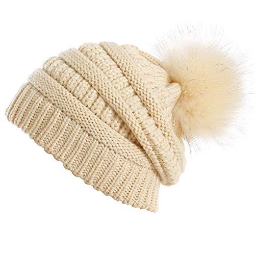 Yetagoo Slouchy Winter Knit Beanie Cap Chunky Faux Fur Pom Pom Hat Bobble Ski Cap (Beige - Beige Crocheted Hat