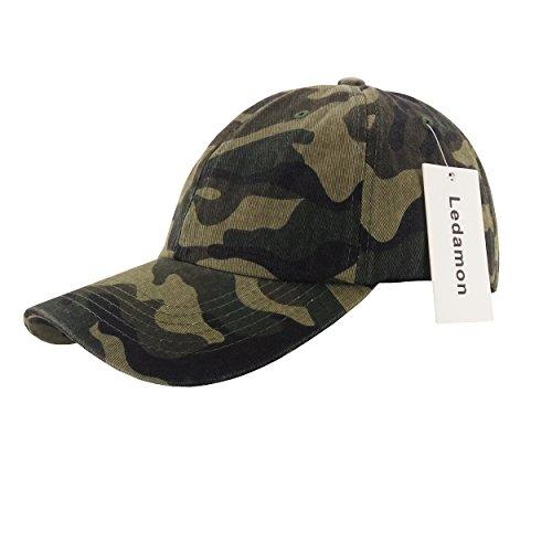 Ledamon Baseball Cap Adjustable Dad Hat Plain Polo Washed Cotton Hat CapUnisex (Camouflage) (Profile Camouflage Cap)