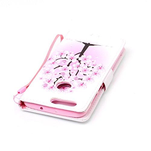 Para Honor 8móvil, piel sintética de alta calidad de móvil con cierre magnético Flip Cover Funda Piel [Tarjetero] funda piel cartera Executive Diseño (+ Polvo Conector & # xff09; blanco 9 8