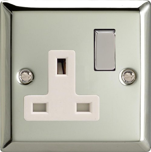 Varilight - 1 Gang 13 Amp Single Switched Socket Mirror Chrome - XC4DW by ()