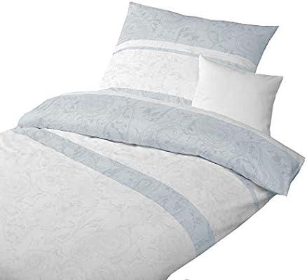 Baumwoll Satin Bettwäsche Paisley Weiß Grau 200x200 2x 80x80 Cm