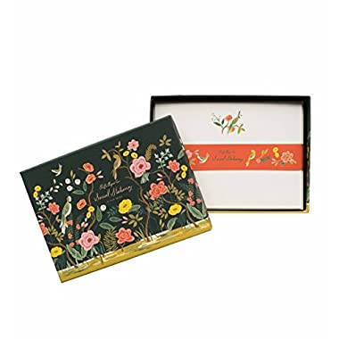 Shanghai Garden Floral Social Stationery Flat Note Cards by Rifle Paper Co. -- Set of 12 Cards and Envelopes