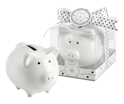 mic Mini-Piggy Bank in Gift Box with Polka-Dot Bow (Baby Dot Ceramic)