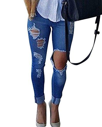 Stretch Strappati Jeans Donna Alte Pantaloni Vita Leggings Blu Matita Skinny qg7AaFwcq