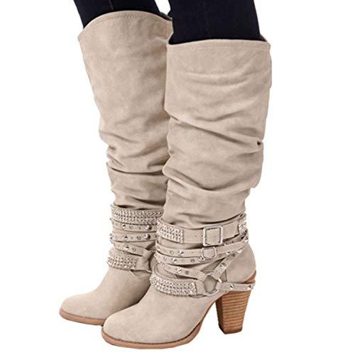 con EU da donna Beige con rivetto Scarpe 43 Beige dimensioni chunky Colore fibbia ZHRUI grandi di fibbie in Dimensione aSUzqW5w
