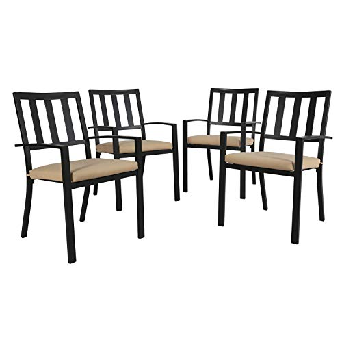 Ulax furniture Outdoor Patio Dining Steel Slat Stackable Chairs Set of 4 for Porch, Backyard and Garden, Cushion Included