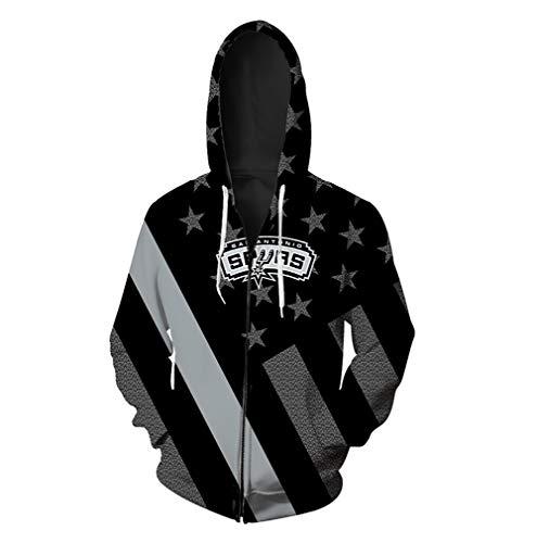 SXELODIE Fashion 3D Zip Up Hoodie Printed San Antonio Team Spurs Hoodie Cardigan Graphic Jacket Sweatshirts Hooded with Big Pockets Men,XL