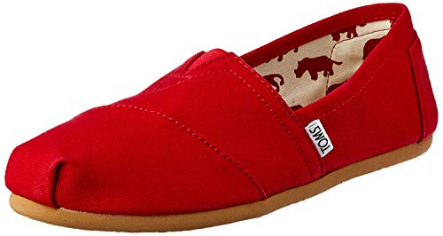 TOMS Women's Classic Canvas Slip On Loafers Espadrilles (5.5 M US, Red)