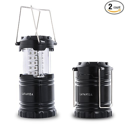LAVAVIDA LED Camping Lantern - 2 Pack Safety Lamp Light for Emergency, Hiking, Fishing, Blackouts, Hurricanes, Storms - Portable, Collapsible, Water Resistant - Ultra Bright Flashlight - Black by LAVAVIDA