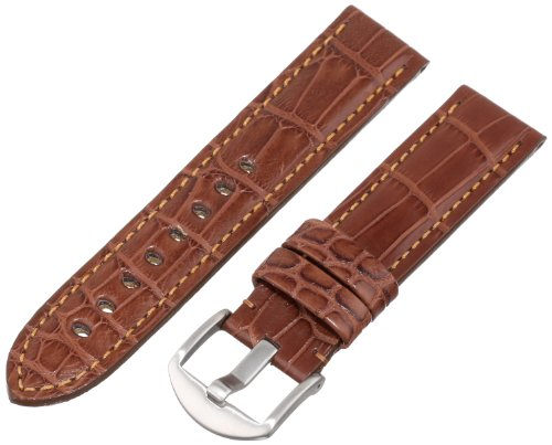 Hadley-Roma Men's MS2018RB-220 22-mm Brown Genuine Alligator Leather WatchStrap