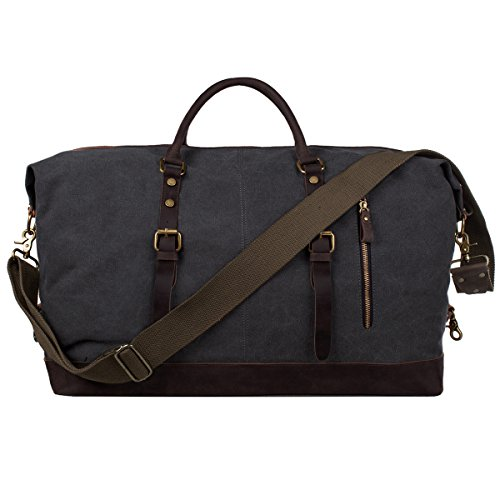 S-ZONE Oversized Leather Canvas Duffel Shoulder Weekender Mens Overnight Bag