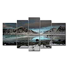 5 Piece Wall Art Painting Seagull Flying Over Mountain Lake Stones On Beach Pictures Prints On Canvas Landscape The Picture Decor Oil For Home Modern Decoration Print For Boys Bedroom