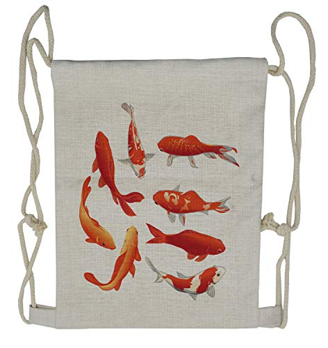 Ambesonne Fish Drawstring Backpack, Koi Shoal Chinese Animal, Sackpack Bag