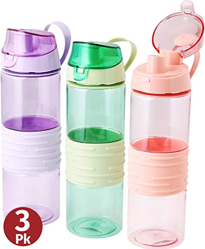 Sports Water Bottle – Kids Reusable Leakproof 25 Oz 3-pack Plastic Wide Mouth Large Big Drink Bottle BPA & Leak Free With Handle Strap Carrier For Gym Cycling Camping Hiking Yoga Fitness