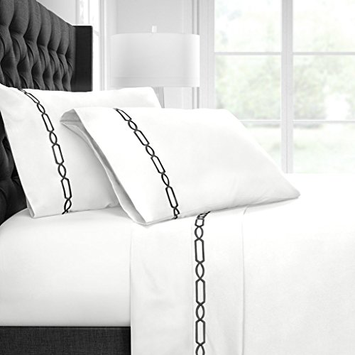 Egyptian Luxury Embroidered Bed Sheet Set – Ultra Soft Premium 1500 Series w/ Beautiful Fretwork Embroidery – Wrinkle & Fade Resistant, Hypoallergenic 4 Piece Set - King - White/Black - Embroidered Bed