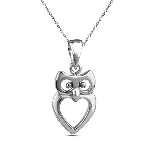 (LeCalla Sterling Silver Jewelry Rhodium Plated Light Weight Owl Charm Pendant with Cable Chain for Girl Women)