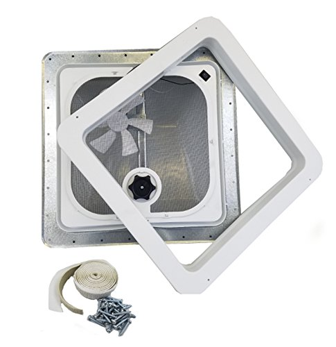 Ventline RV Roof Vent White w/ 12 Volt Fan, Putty & Screws (Vent Roof Ventadome)