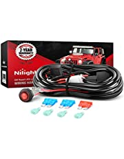 Nilight NIL102 Off Road ATV/Jeep LED Light Bar Wiring Harness Kit 40 Amp Relay On/Off Switch