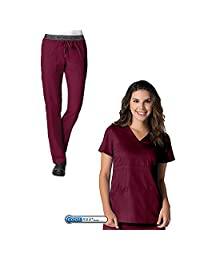 EON by Maevn Mock Wrap Top & 7 Pocket Waistband Cargo Pant Scrub Set