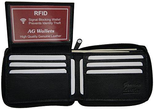 AG Wallets Men's Genuine Leather RFID Zip Around Bifold Wallet With Flip-Up ID