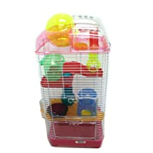 YML 3 Level Clear Plastic Dwarf Hamster, Mice Cage with Ball on Top, Pink