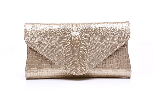 - Bidear Envelope Clutch Purse Genuine Leather Party Handbag Evening Bags for Women (Leather-Gold)