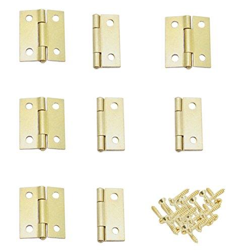 Brass Butt Hinge (8 Piece Brass Color Mini Hinge Set with Screws)