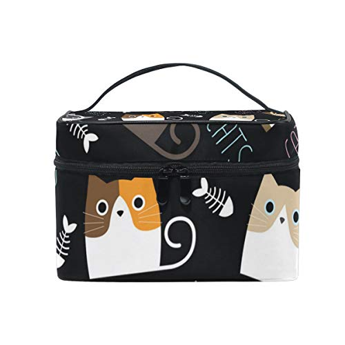Makeup Bag Cute Cats Cartoon Cosmetic Case Portable Carry Travel Toiletry Bag Toiletry Bags for Womens Storage -