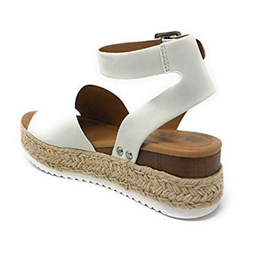 68fa2155a Sandals for Women Rubber Sole Studded Wedge Buckle Ankle Strap Flat with  Open Toe Sandals