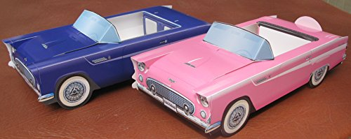 6 Ford T-Bird Cardboard Cars Food Boxes Snack Tray Party Pla