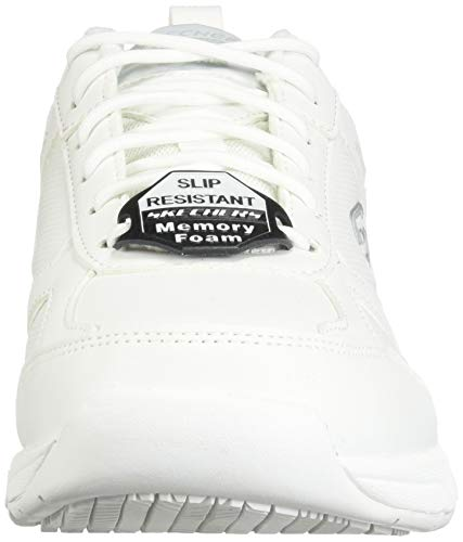 Skechers 77111 Men's Work Relaxed Fit: Dighton SR Shoe, White - 8.5 D US