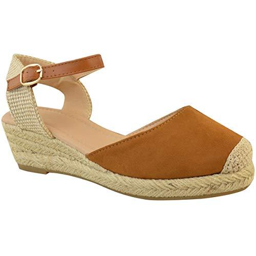 Por Tostado Talla Tiras Alpargatas Verano Nuevo Ante Baja Marrón Zapatos Sandalias Mujer Cuña Heelberry Tacón Artificial Thirsty Fashion De Pa8SOO