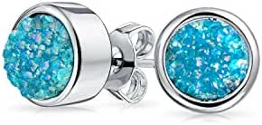 Bling Jewelry Dyed Teal Druzy Quartz Stud Earrings 8mm Rhodium Plated