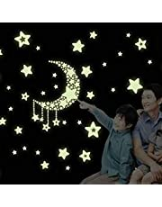 Cute Moon Stars Small Luminous Stickers Children Cartoon Room Decorative Wall Stickers