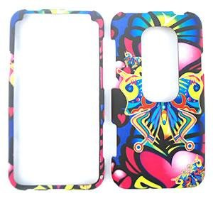 HTC EVO 3D SPRINT 3D Embossed Colorful Butterflies and Pink Hearts HARD PROTECTOR COVER CASE / SNAP ON PERFECT FIT CASE