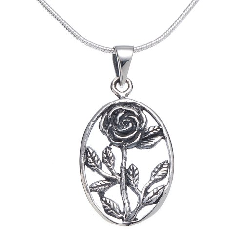 - 925 Oxidized Sterling Silver Classic Rose Oval Pendant Necklace, 18 inches - Nickel Free
