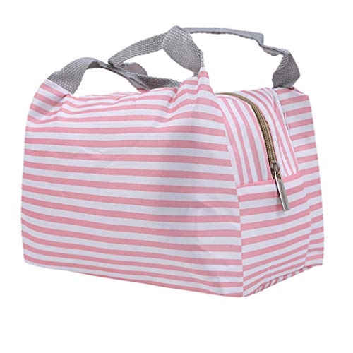 Yunzee Lunch Bag Tote Bag for Women Men Reusable Lunch Organizer Lunch Holder Insulated Lunch Cooler Bag,Pink stripe,8.27x5.51x6.30inch