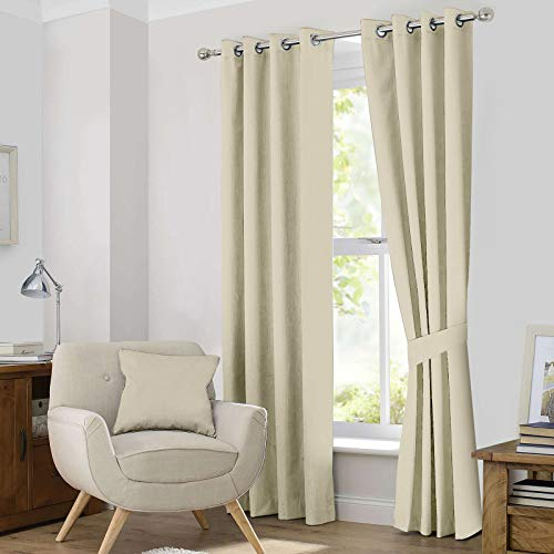 Ample Decor Thermal Insulated Blackout Grommet Window Curtain for Living Room, Modern Premium Quality Blackout Curtains with Tie Backs, Window Treatment Set of 2- (Champagne, 46 X 63 Inch)