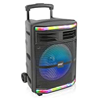 Pyle Portable Bluetooth PA Speaker System – 600W Bluetooth Speaker Portable PA System W/Rechargeable Battery 1/4″ Microphone in, Party Lights, MP3/USB SD Card Reader, Rolling Wheels PPHP1044B
