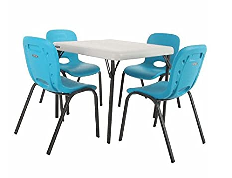 Awesome Lifetime Kids Powder Coated Table With 4 Strong And Durable Blue Chairs With Easy Carry Handle And Steel Frame Machost Co Dining Chair Design Ideas Machostcouk