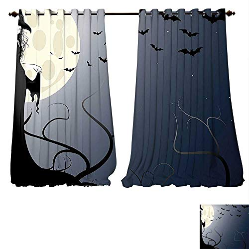Printed Thermal Insulated Bedroom Blackout Curtains Halloween Wicked Witch in Twilight on High Hill at Hazy Dark Night Magic Fiction Tale Black Yellow for Bedroom Set (W84 x L96 -Inch 2 Panels)