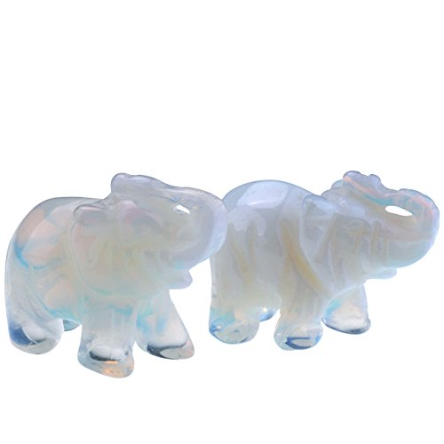 JOVIVI 2pc Natural Carved Gemstones Elephant Figurine 1.5'' Room Decoration, with Gift Box (Opalite)