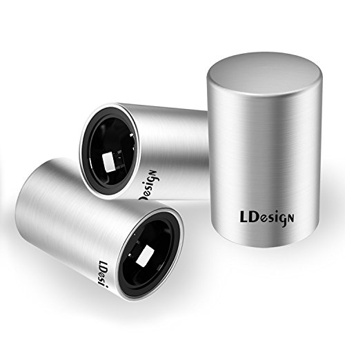 LDesign 3 Pcs Magnetic Beer Bottle Opener, Stainless Steel Stylish Automatic Beer Can Opener with Cap Catcher to Open the Cap of Beer, Water, Soda in 3s for Bar, Home, Gift Set, Great For Arthritis