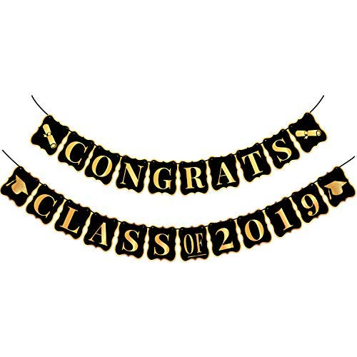 Congrats Class of 2019, Graduation Party Supplies 2019 - no DIY Required | Classy Graduation Banner for Graduations Decorations | Grad Party Decor, Seniors High School or Prom | Black and Gold, Large