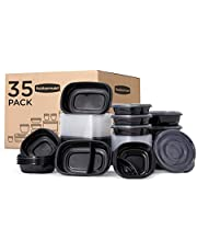 Rubbermaid TakeAlongs Food Storage Single Base, Set of 35 (70 Pieces Total) | Meal Prep Containers, Lunch for Adults & Kids |Bento Box, 35-Pack, Black